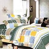 Blancho Bedding - [Green Blocks] 100% Cotton 3PC Comforter Cover/Duvet Cove ....