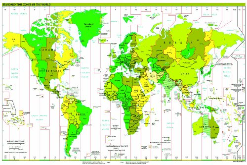 Huge Laminated Time Zone World Map Poster Wall Chart | Polit
