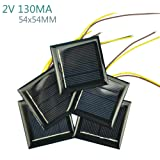 AOSHIKE 10Pcs 2V 130MA Micro Solar Panels Photovoltaic Solar Cells With 15CM Wires Power Charger Solars Epoxy Plate DIY Projects Toys 54x54mm (2V 130MA 54x54MM) (Tamaño: 2V 130MA 54x54MM)