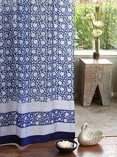 Midnight Lotus ~ Unique Asian Blue Floral Curtain Panel 46x96 (Lotus Water Treatment System compare prices)