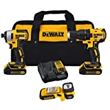 Dewalt 20-Volt Max Lithium-Ion Cordless Brushless Drill/Driver and Light Combo Kit (3-Tool) with (2) Batteries, Charger and Bag