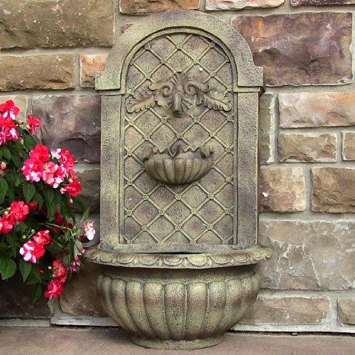 Sunnydaze venetian outdoor wall fountain florentine stone for Decor 5 5 litre drink fountain