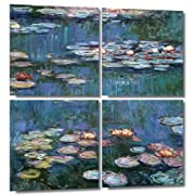 Art Wall 4-Piece Water Lilies Wrapped Canvas Art Reproduction by Claude Monet 36 by 36-Inch
