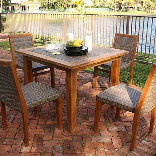 Panama Jack Outdoor Leeward Islands Natural Teak 5-Piece Dining Set, Includes 4 Side Chairs, 40-Inch Square Table with Umbrella Hole photo