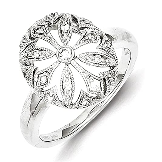 Sterling Silver Rhodium Plated Diamond Flower in Oval Ring