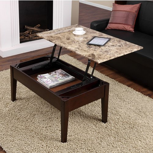 Faux Marble Lift Top Coffee Table, Espresso