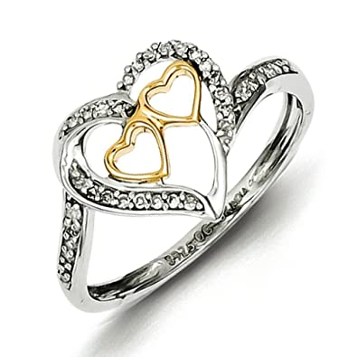 Sterling Silver and 14ct Two Tone Diamond Hearts In Heart Ring - Ring Size Options Range: L to P