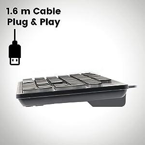 Perixx Periboard-317 - USB Wired Illuminated Keyboard - White LED Backlit - Big Print Membrane Keys - Dimension: 17.32X5.08X1.06 (Color: Black)