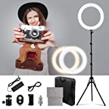LED Ring Light 18-inch Diameter with 2m Tripod Stand,PRUNLLA 80w Bi-Color 2700-5500k Dimmable LED Ring Lamp for Beauty Facial Shoot,YouTube,Facebook,Live Stream,Make-up Artist