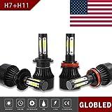 Globled H7+H11/H9/H8 200W 20000LM 4 Sides LED Headlights Bulb 6000K High Low Beam Foglight (Color: Black, Tamaño: H7+H11)