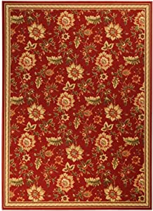 Essential Collection Printed Non-Skid Rubber Back Burgundy 3x4 Floral Design Runner Rug (1300)