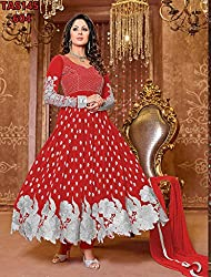 Maruti Creation Women's Georgette Semi-stitched Anarkali Suit Dress Material (MC1010C_FREE_SIZE_RED)