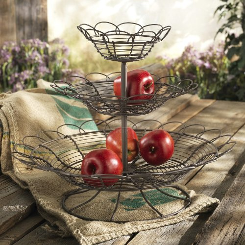 FRENCH WIRE 3 TIER FRUIT BASKET STAND