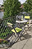 Belardo Minoa Wood 2 Seater Balcony Set, Grey, with Round Table and Green Seat Cushions