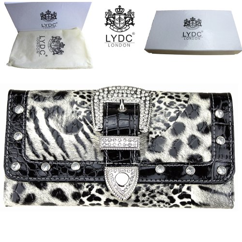 Ladies LYDC Designer L076 New Black & White Leopard Zebra Animal Print Boxed Purse Women Hand Bag Wallet Clutch