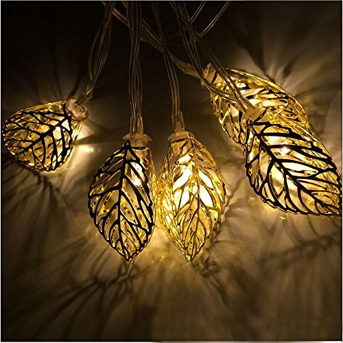 JOJOO Soalr Powered 12 LED 12ft/ 3.7m Tree Leaf String Lights Metal Ornament Lights for Garden, Wedding, Party, Indoorm, Outdoor and Christmas Tree, Amber LT006