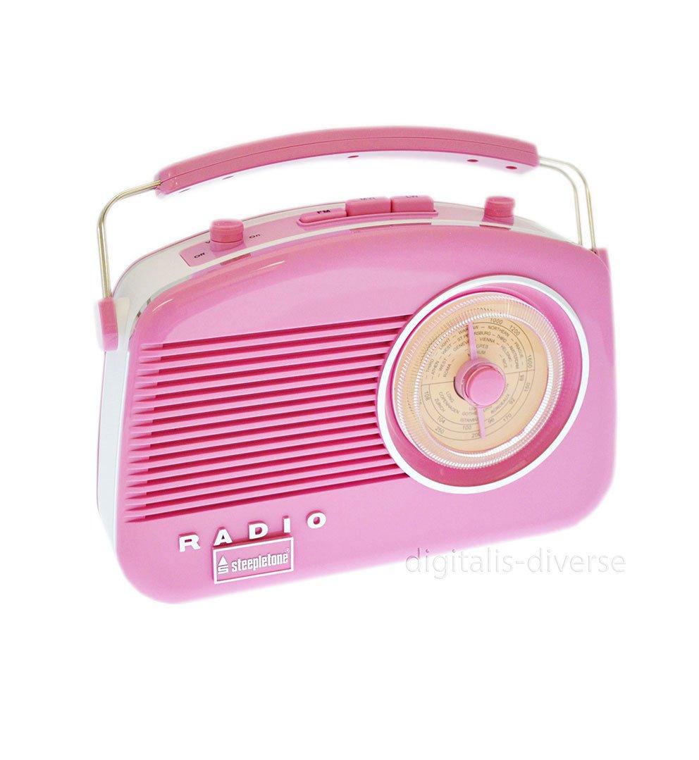 Steepletone Brighton Radio Vintage Style Shabby Chic Retro Radio FM/MW/LW Pink 0