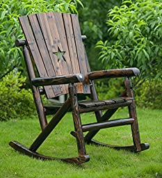 【New On Sale】Merax Fashion Comfortable Charred Char-log Wood Single Rocker With Star