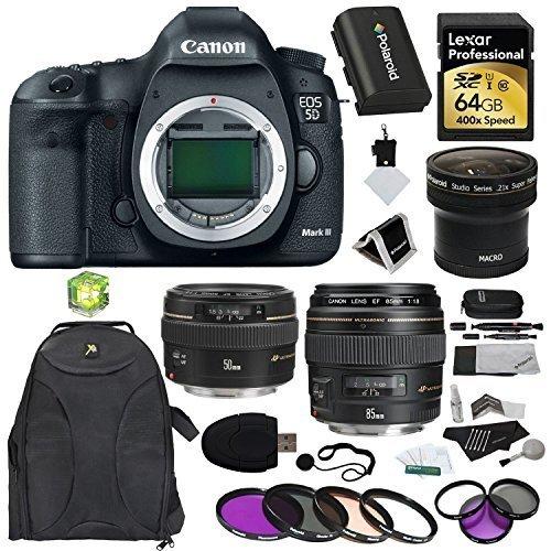 Canon EOS 5D Mark III 22.3 MP Full Frame CMOS with 1080p Full-HD Video Mode Digital SLR Camera (Body) + F 50mm f/1.4 USM Standard & Medium Telephoto Lens + EF 85mm USM + Polaroid .21X HD Fisheye Lens + Polaroid Filters + Lexar 64 GB x400 SDXC Card + Extra Accessories Kit (Full Frame Digital compare prices)