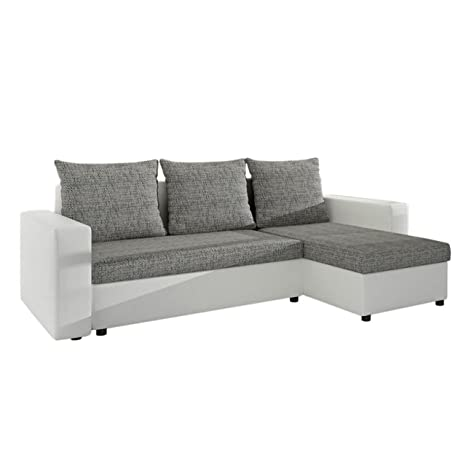 Ecksofa Top Lux! Sofa Eckcouch Couch! mit Schlaffunktion und zwei Bettkasten! Ottomane Universal, L-Form Couch Schlafsofa Bettsofa Farbauswahl (Rain 01 + Lawa 05)