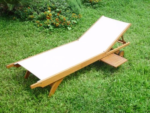 Hardwood Framed Easy Care Textaline Cream Fabric Super Comfortable Luxury Sun Lounger