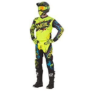 // Jersey Kids X-Large ONeal Element Villain White Kids//Youth motocross MX off-road dirt bike Jersey Pants combo riding gear set 27 Pants Youth 28