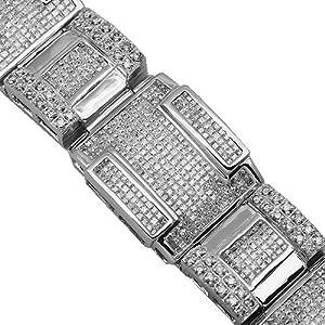 14K White Gold Mens Diamond Bracelet 27.13 Ctw
