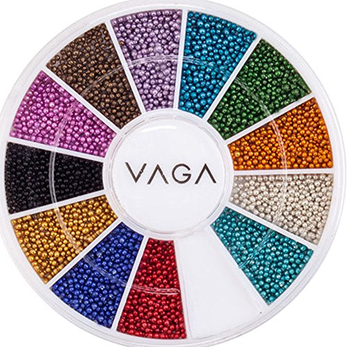 Premium-Manicure-Nail-Art-Decorations-Wheel-With-Beads-Pearls-Caviar-In-12-Different-Colors-By-VAGA