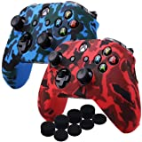 YoRHa Water Transfer Printing Camouflage Silicone Cover Skin Case for Microsoft Xbox One X & Xbox One S controller x 2(red&blue) With PRO thumb grips x 8 (Color: red+blue, Tamaño: Printing Pack)
