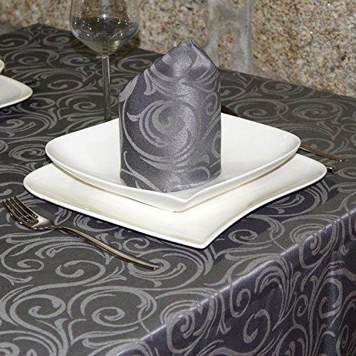"""Lusso-Tovaglia con trattamento anti macchie, dimensioni grandi, colore: grigio scuro. Lyon, Grey, 59 x 157"""" (150 x 400cm)"""