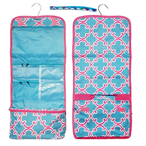 Large Turquoise Pink Quatrefoil Hanging Toiletries Cosmetic Makeup Travel Bag by TravelNut® Unique Best Her BFF Girlfriend Unique Cool Birthday Stocking Stuffer Christmas Gift Idea (Rolls Royce Polo compare prices)