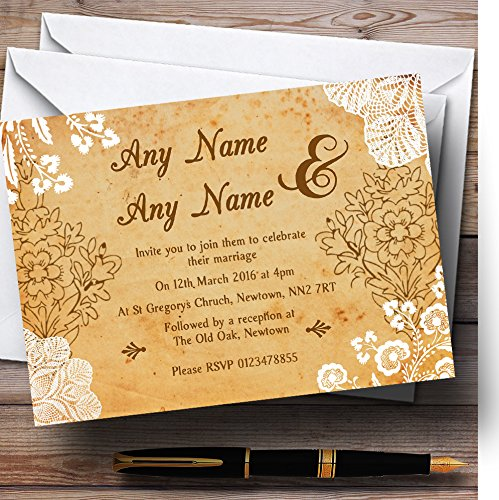 Shabby Chic Rustic Vintage Lace Personalized Wedding Invitations 0