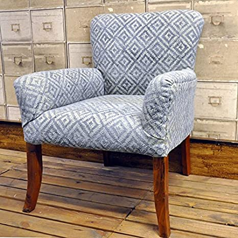 Hand Woven Traditional Kilim Grey Geometric Stonewashed Chair Armchair Arm Chair