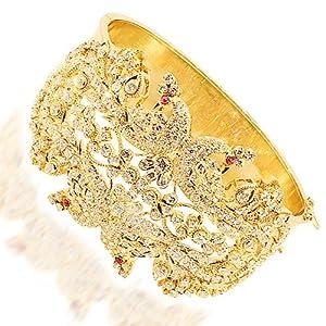 18K Yellow Gold Womens Diamond Bangle Bracelet with Rubies 8.70 Ctw