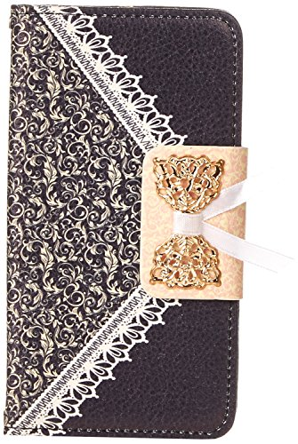Eagle Cell Sharp Aquos Crystal PU Leather Case - Retail Packaging - Black Lace Pattern (Sharp Crystal Phone Case compare prices)