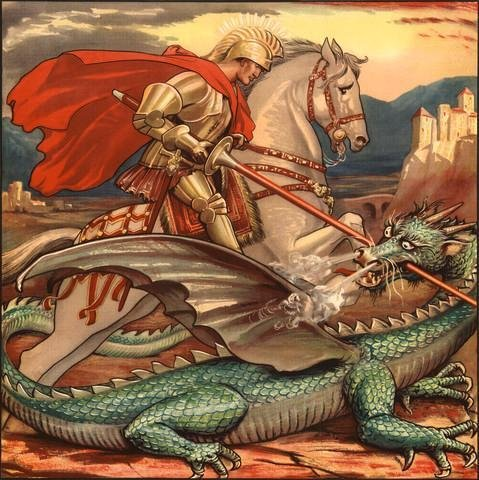 St George And The Dragon Illustration Wall Mural - 24 Inches H X 24 Inches W - Peel And Stick Removable Graphic