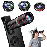 Phone Camera Lens Kit, 5 in 1 Cell Phone Lens - 12X Zoom Telephoto Lens + 0.36X Wide Angle Lens + 180°Fisheye Lens + 15X Macro Lens(2pcs) Compatible with iPhone XS XR X/8/7/6s Plus Android Smartphones (Tamaño: 5 in 1)