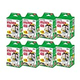 Fujifilm Instax Mini Instant Film, 2x10 Shoots x8 Pack (Total 160 Shoots) + withC Microfiber Cleaning Cloth+ Free 80PCS Sticker for Fuji Mini 90 8 70 7s 50s 25 300 Camera SP-1 Printer