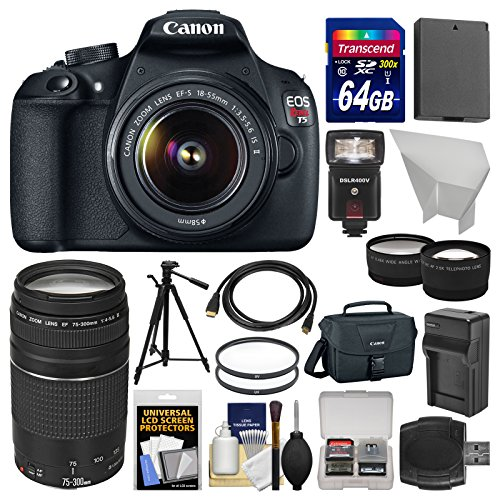Canon EOS Rebel T5 Digital SLR Camera  &  18-55mm IS II  &  75-300mm III Lens  &  Case + 64GB Card + Flash + Battery  &  Charger + Tripod + Tele/Wide Lens Kit