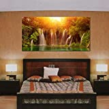 999Store Wooden Framed Large Printed Waterfall Canvas Painting For Living Room ( 240 X 120 Cms)
