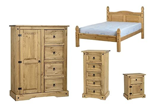 Seconique Corona 4 Piece Bedroom Set - Low Foot End Double Bed + 1 Door 4 Drawer Low Wardrobe + 5 Drawer Narrow Chest + 1 Drawer 1 Door Bedside Cabinet - Waxed Pine Colour