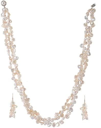 Tadla Pearls White Pearl Multi Strand Chain Set for Women  Tadla0015  available at Amazon for Rs.14375