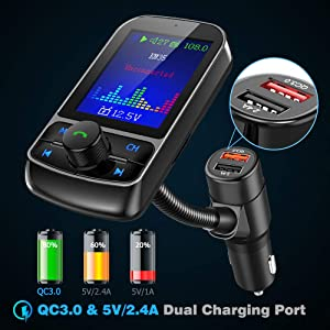 Nulaxy Bluetooth FM Transmitter for Car, 1.8 Color Screen Wireless Radio Adapter with QC3.0 & 5V 2.4A Charging, Support USB Flash Drive, microSD Card