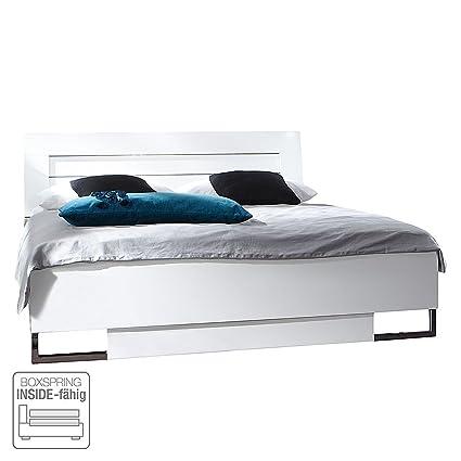 DAVOS Modernes Doppelbett, Weiß, 180 x 200 cm