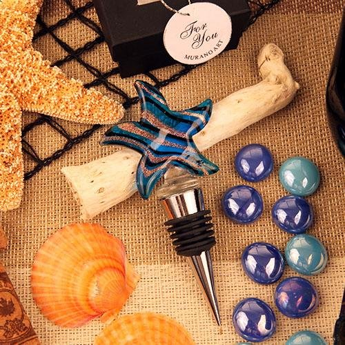 12 Murano Art Star Fish Blue Wine Bottle Stoppers Favors Wedding Favors Party Gifts