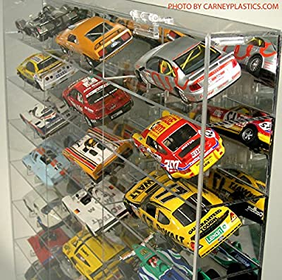 Slot Car 24 Car Display Case 1/32 Mirror and Compartment with 24 Car Stands