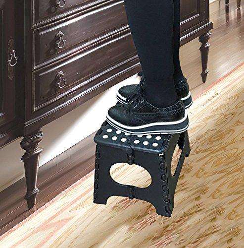Jeronic 11 Inch Plastic Folding Step Stool Black Hardware