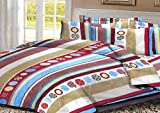 SWHF Cotton Printed Stripe Bedsheet: Multi Colour