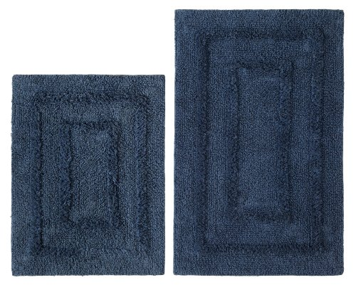 2 Piece Bath Rug Set - Solid Reversible Race Track Azure Blue by Cotton Craft - Colors - Sage, Chocolate, Linen and Ivory - 100% Pure Cotton - High Quality and absorbent - Super Soft and Plush - Hand Tufted Heavy Weight Durable Construction - Larger Rug i