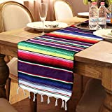 OurWarm 14 x 84 inch Mexican Serape Table Runner for Mexican Party Wedding Decorations, Fringe Cotton Table Runner